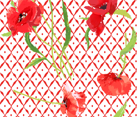 poppies & trellis on the red net fabric by katarina on Spoonflower - custom fabric