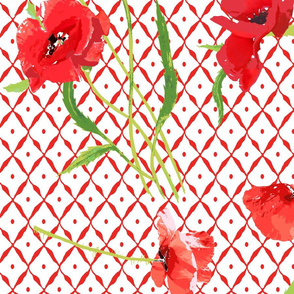 poppies & trellis on the red net