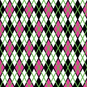 GIR Argyle - Light Pink, White and Black, with Light Green Stripes