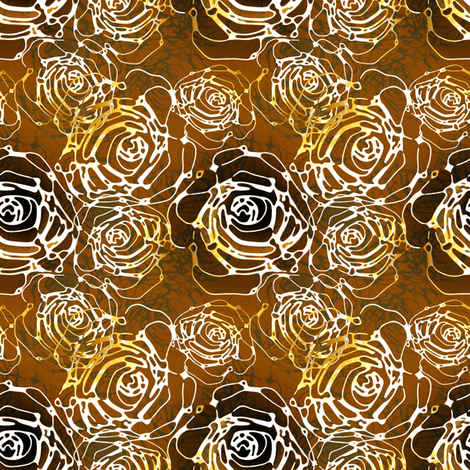 Roses in stylized bronze fabric by joanmclemore on Spoonflower - custom fabric