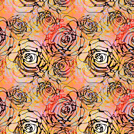 Roses on coral fabric by joanmclemore on Spoonflower - custom fabric