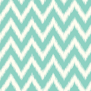 Aqua and Ivory Ikat Chevron