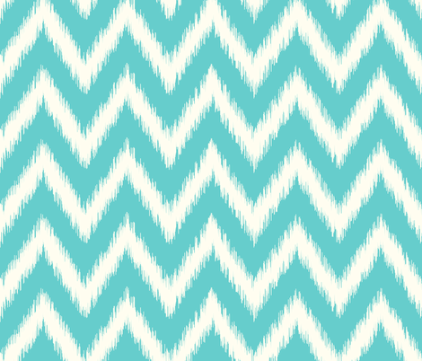 Turquoise and Ivory Ikat Chevron fabric by sweetzoeshop on Spoonflower - custom fabric