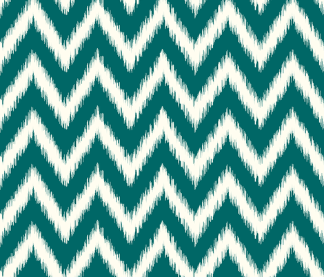 Dark Teal and Ivory Ikat Chevron