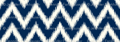 Navy Blue and Ivory Ikat Chevron
