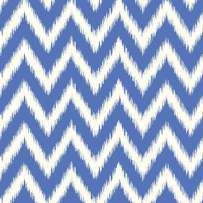 Royal Blue and Ivory Ikat Chevron