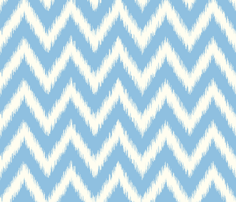 Sky Blue and Ivory Ikat Chevron