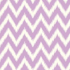Lilac Purple and Ivory Ikat Chevron