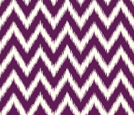 Plum Purple and Ivory Ikat Chevron