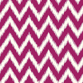 Berry Purple and Ivory Ikat Chevron