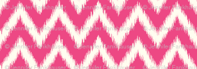 Hot Pink and Ivory Ikat Chevron