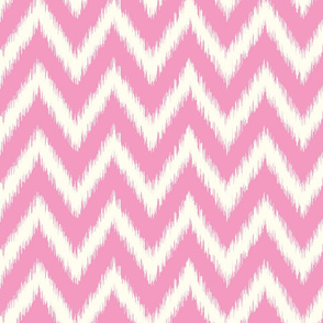 Bubblegum Pink and Ivory Ikat Chevron