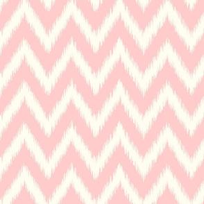 Light Pink and Ivory Ikat Chevron
