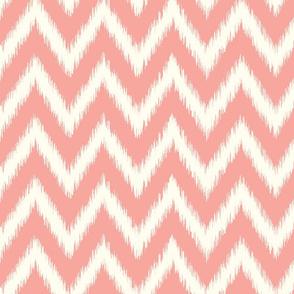 Pink and Ivory Ikat Chevron