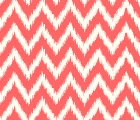 Coral and Ivory Ikat Chevron fabric by sweetzoeshop on Spoonflower - custom fabric