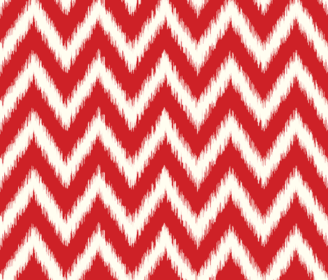 Red and Ivory Ikat Chevron