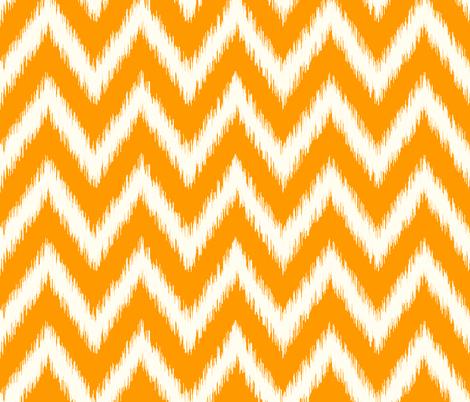 Orange and Ivory Ikat Chevron