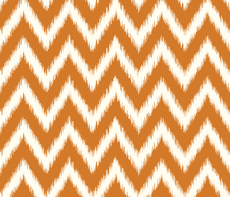 Burnt Orange and Ivory Ikat Chevron fabric by sweetzoeshop on Spoonflower - custom fabric
