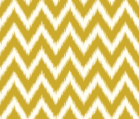 Gold and Ivory Ikat Chevron