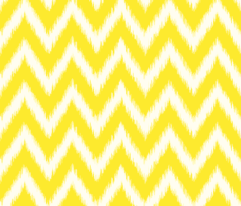 Yellow and Ivory Ikat Chevron fabric by sweetzoeshop on Spoonflower - custom fabric