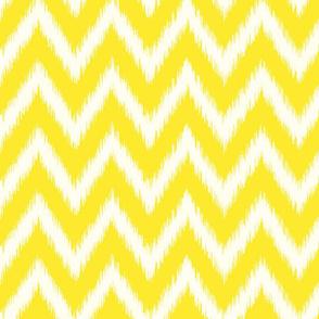 Yellow and Ivory Ikat Chevron