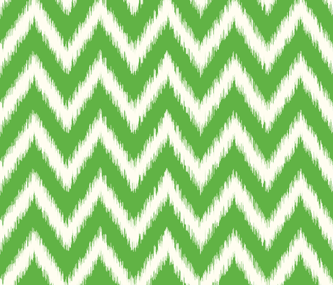 Kelly Green and Ivory Ikat Chevron fabric by sweetzoeshop on Spoonflower - custom fabric