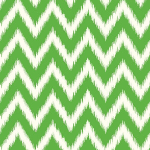 Kelly Green and Ivory Ikat Chevron