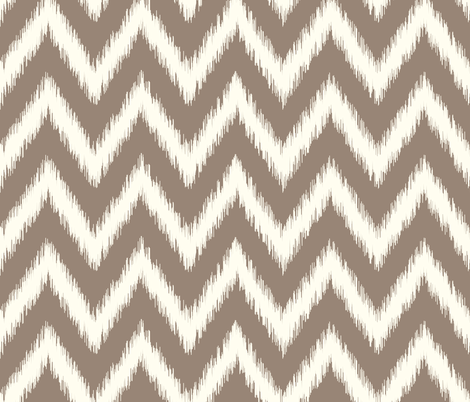 Mocha Brown and Ivory Ikat Chevron