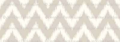 Linen Beige and Ivory Ikat Chevron
