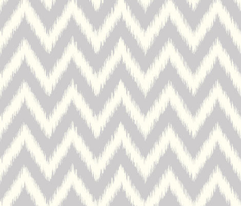 Light Gray and Ivory Ikat Chevron