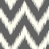 Charcoal Gray Ikat Chevron