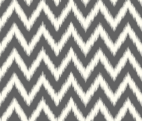 Charcoal Gray and Ivory Ikat Chevron fabric by sweetzoeshop on Spoonflower - custom fabric