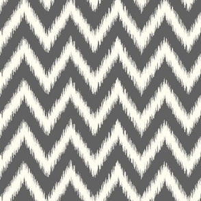 Charcoal Gray and Ivory Ikat Chevron