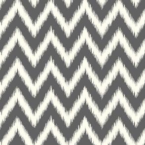 Charcoal Gray and Ivory Ikat Chevron