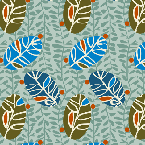 Leaf Petite-Blue Colorway fabric by gsonge on Spoonflower - custom fabric