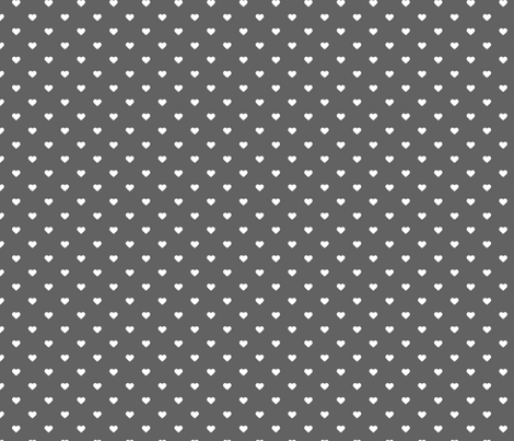 Charcoal Gray Polka Dot Hearts fabric by sweetzoeshop on Spoonflower - custom fabric