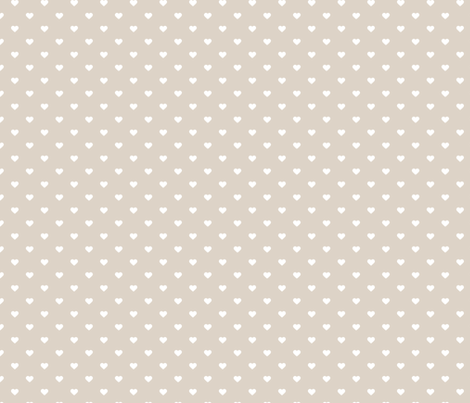 Linen Beige Polka Dot Hearts fabric by sweetzoeshop on Spoonflower - custom fabric