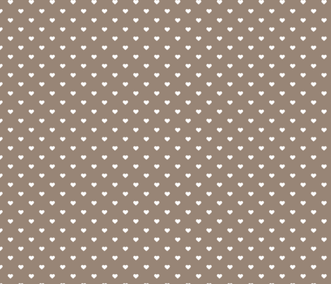 Mocha Brown Polka Dot Hearts fabric by sweetzoeshop on Spoonflower - custom fabric
