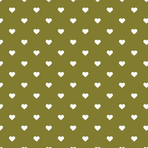 Olive Green Polka Dot Hearts