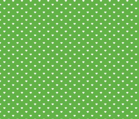 Kelly Green Polka Dot Hearts fabric by sweetzoeshop on Spoonflower - custom fabric