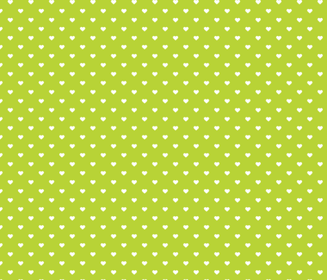 Apple Green Polka Dot Hearts fabric by sweetzoeshop on Spoonflower - custom fabric