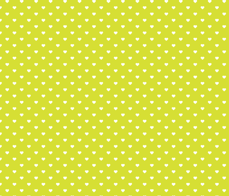Lime Green Polka Dot Hearts fabric by sweetzoeshop on Spoonflower - custom fabric