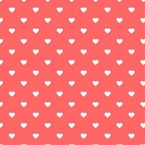 Coral Polka Dot Hearts