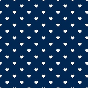 Navy Blue Polka Dot Hearts