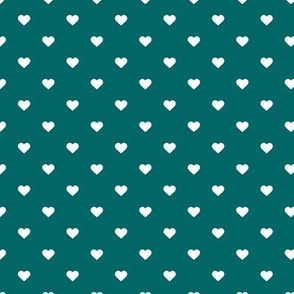 Dark Teal Polka Dot Hearts