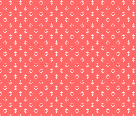 Coral Anchors fabric by sweetzoeshop on Spoonflower - custom fabric