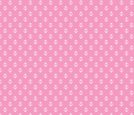 Bubblegum Pink Anchors fabric by sweetzoeshop on Spoonflower - custom fabric
