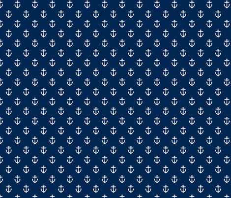 Navy Blue Anchors fabric by sweetzoeshop on Spoonflower - custom fabric