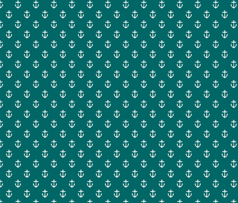 Dark Teal Anchors fabric by sweetzoeshop on Spoonflower - custom fabric