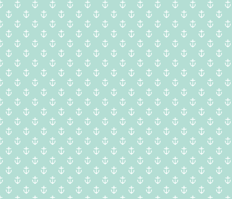 Mint Anchors fabric by sweetzoeshop on Spoonflower - custom fabric